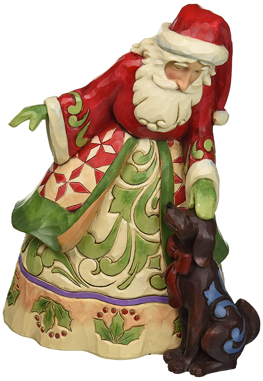 Jim Shore Heartwood Creek Christmas Santa and Dog Figurine Puppy