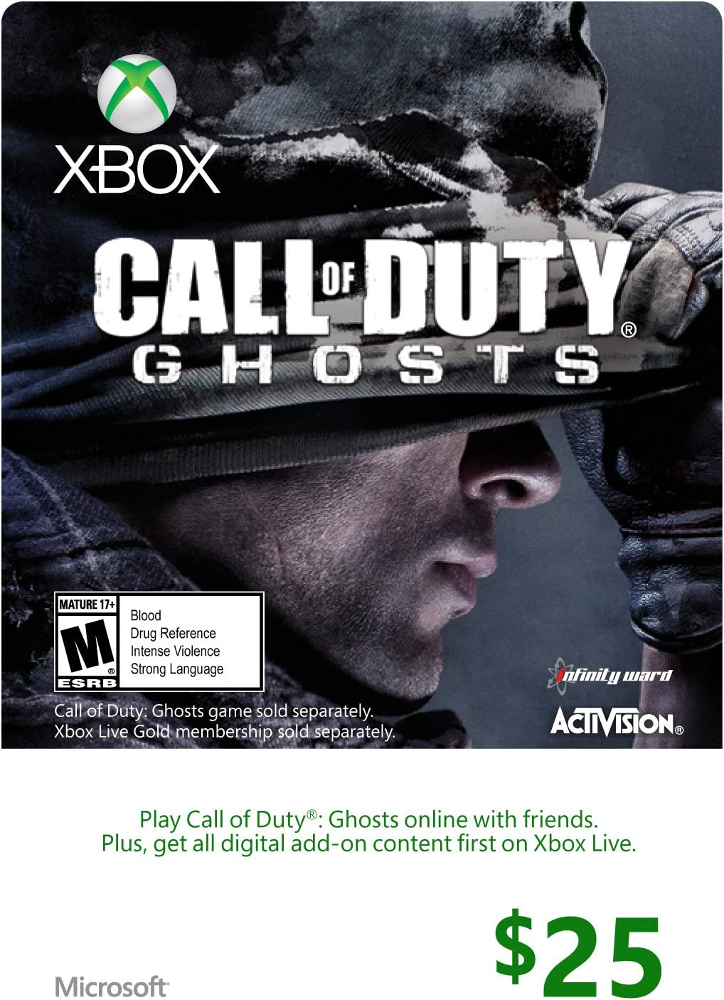 Amazon.com: Xbox $25 Gift Card for Call of Duty: Ghosts ...