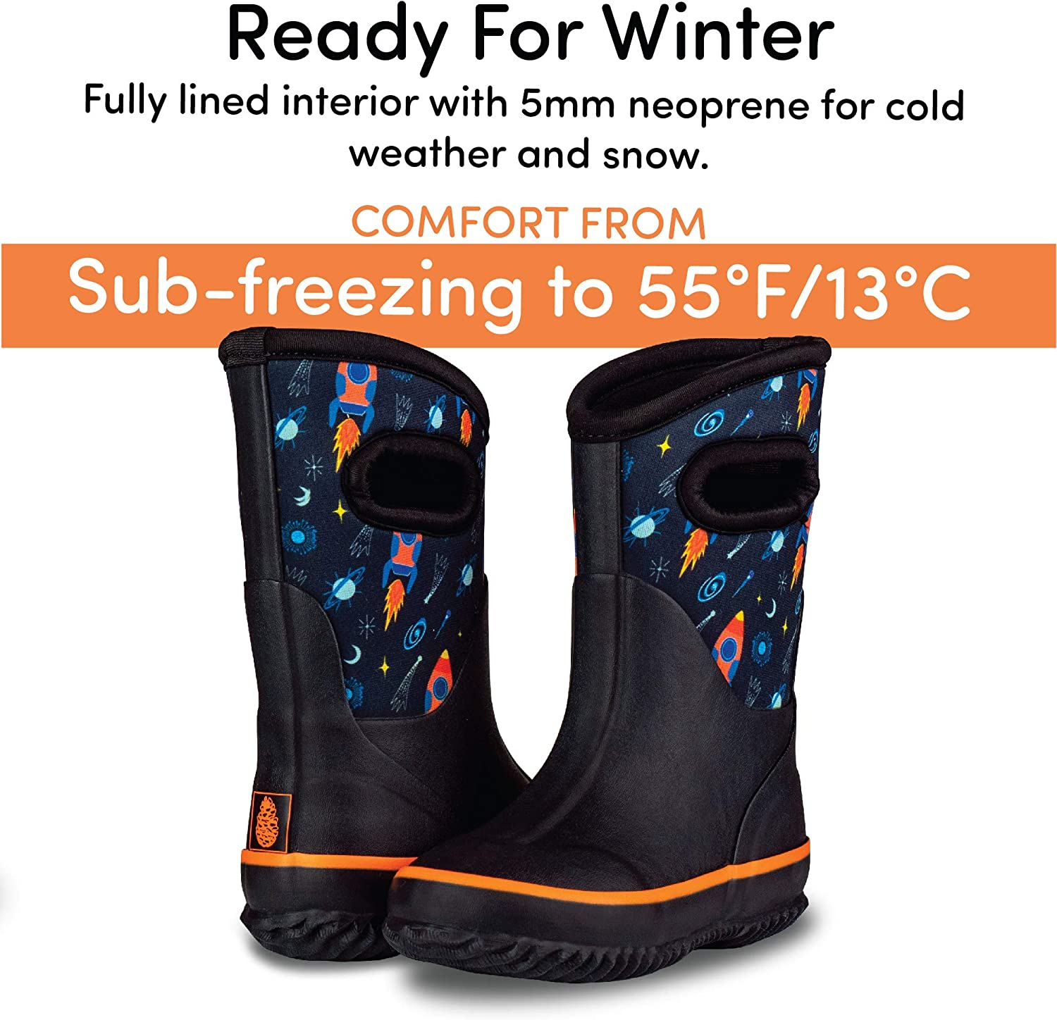 Rain and Muck Warm Neoprene Boots for Snow LONECONE Insulating All Weather MudBoots for Toddlers and Kids