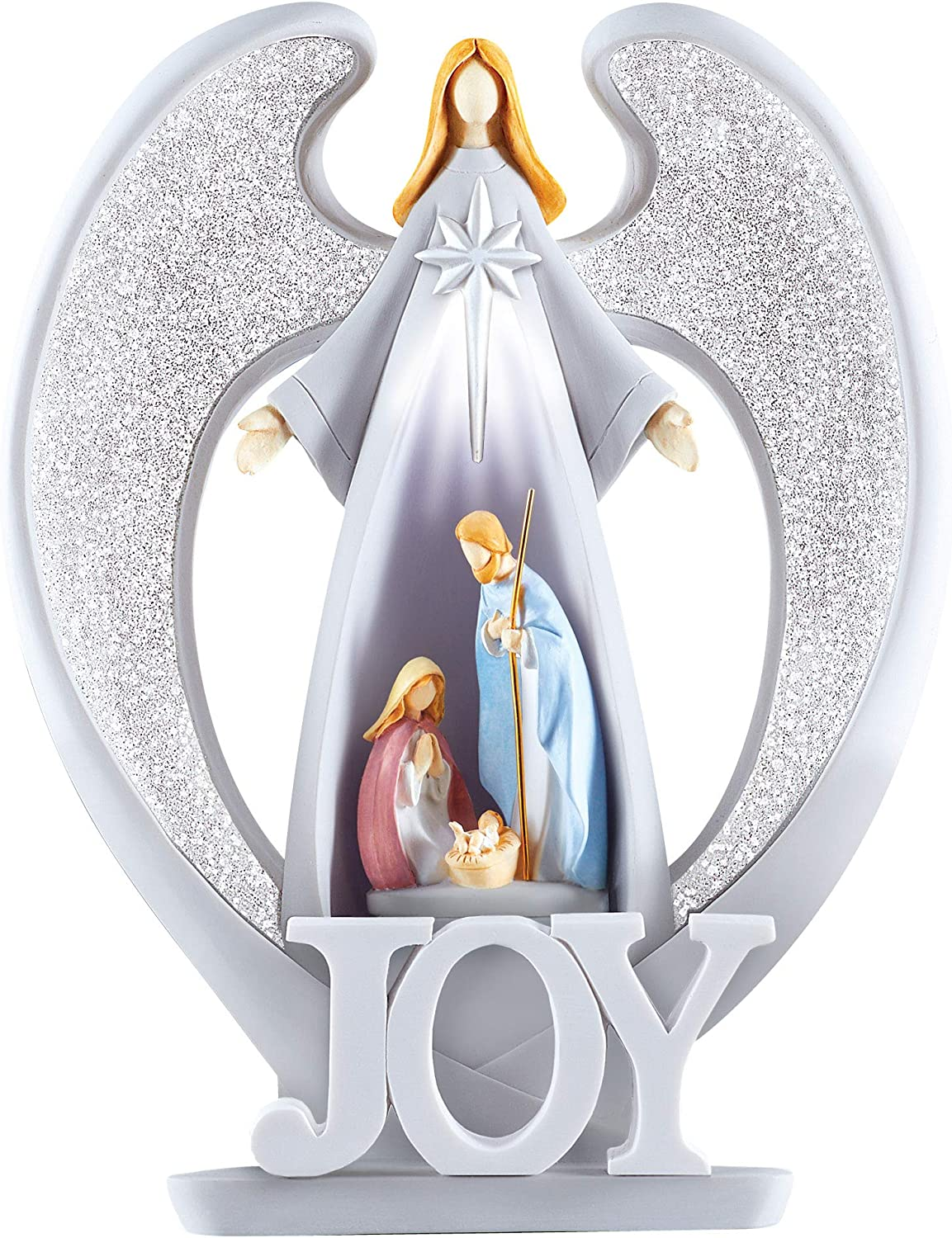 Collections Etc Angel Lighted Nativity Scene Christmas Decoration - Christmas Tabletop Accent