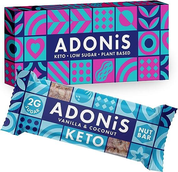 Adonis Low Sugar Nut Bar - Barritas de Coco Crujiente Sabor a Vainillia   100% Natural, Baja en Carbohidratos, Sin Gluten, Vegano, Paleo, Keto (5)