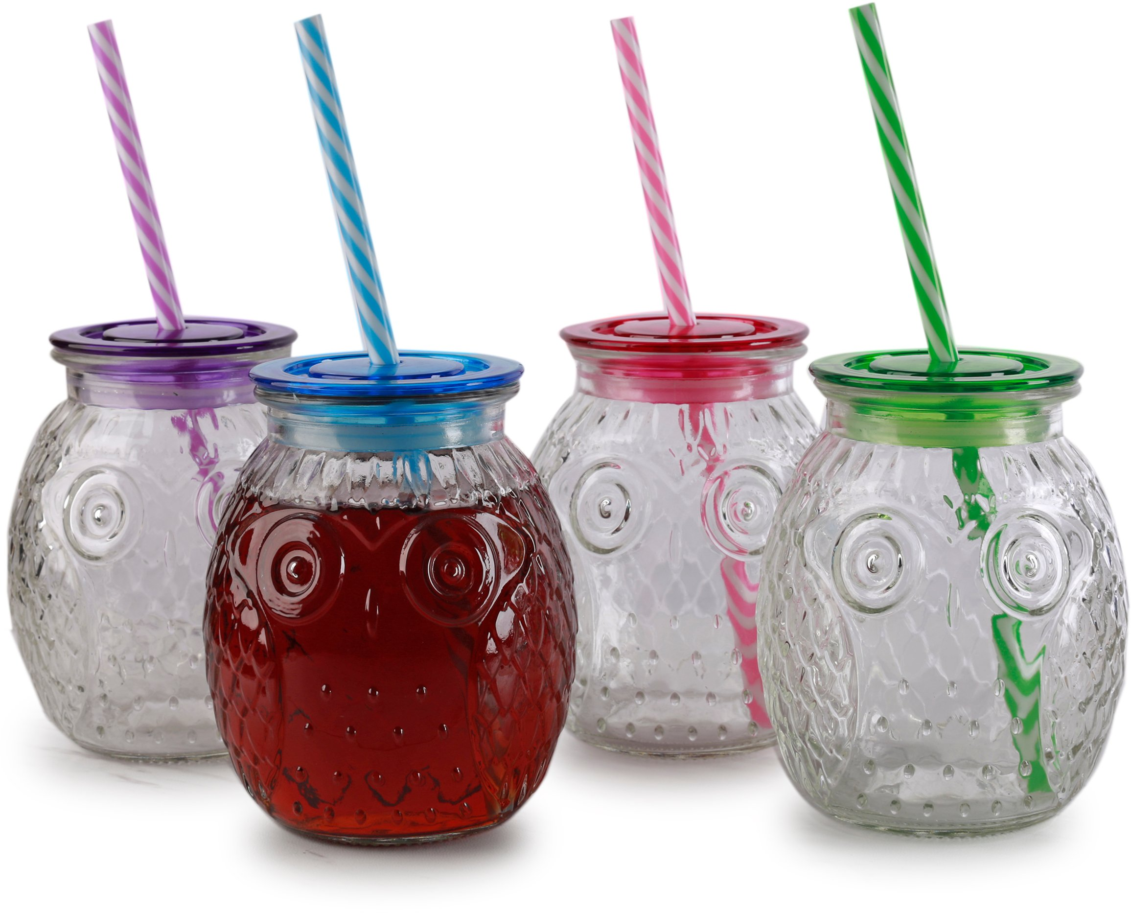 Circleware 69073 Owl Mason Jars Drinking Glasses with Colored Lids and Plastic Straws Set of 4, Glassware for Water Beer and Kitchen & Home Decor Dining Beverage Gifts, 16.2 oz, Multi
