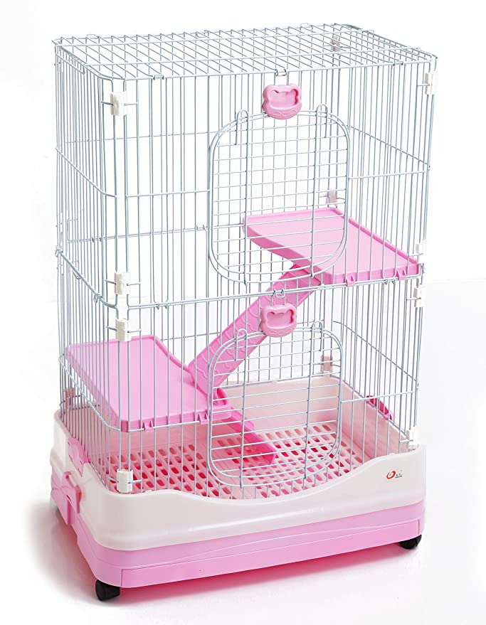 BPS Jaula para Visón Hurón Conejo Gato Roedores Pequeños Mascotas Tamaño M/L (L 97 x 67 x 48 cm, Rosado) BPS-1368RS