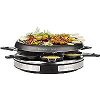 Tefal Gourmet Deco 6 Inox & Design Re127812 - Raclette Con Thermospot, Raclette Y Grill Con Revestimiento Antiadherente, Con 6 Palas Individuales Para Hasta 6 Personas, Palas Para Salsas