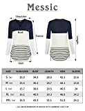 Messic Women's Round Neck Long Sleeve Blouse Shirts Casual Striped Tunic Tops Black M