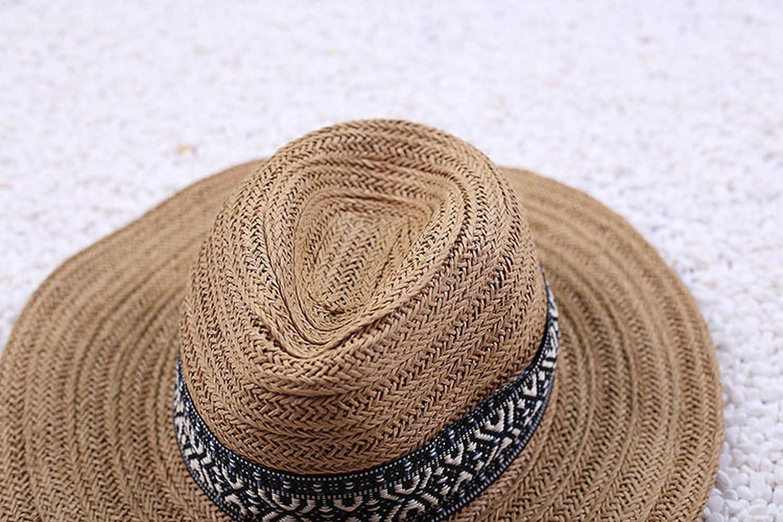 Vintage Summer Straw hat Mens Fedora hat Beige Khaki Cowboy hat Large Brim Straw Panama Hats