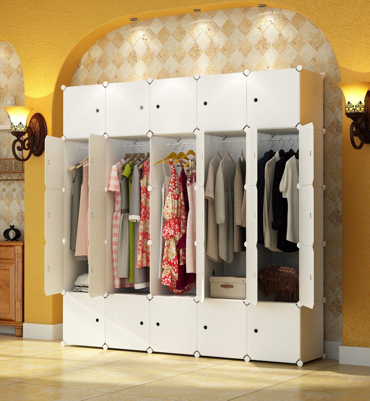 KOUSI Portable Closet Wardrobe Bedroom Armoire Storage Organizer with Doors, Capacious & Sturdy. 25 cube White by KOUSI