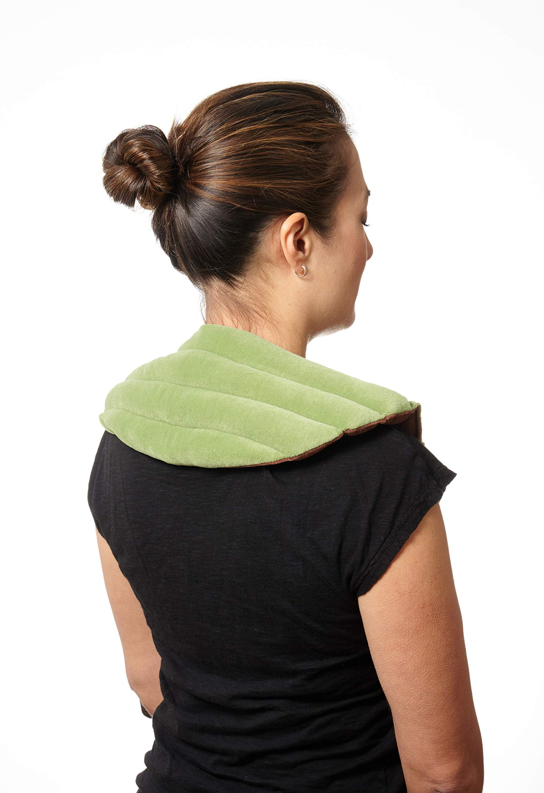 Dreamtime Spa Comforts Microwaveable Shoulder Wrap with Aromatherapy, Neck Shoulder Relaxer, Hot or Cold Neck Wrap Lavender and Peppermint Herbal Stress Relief, Green/Brown by Spa Comforts