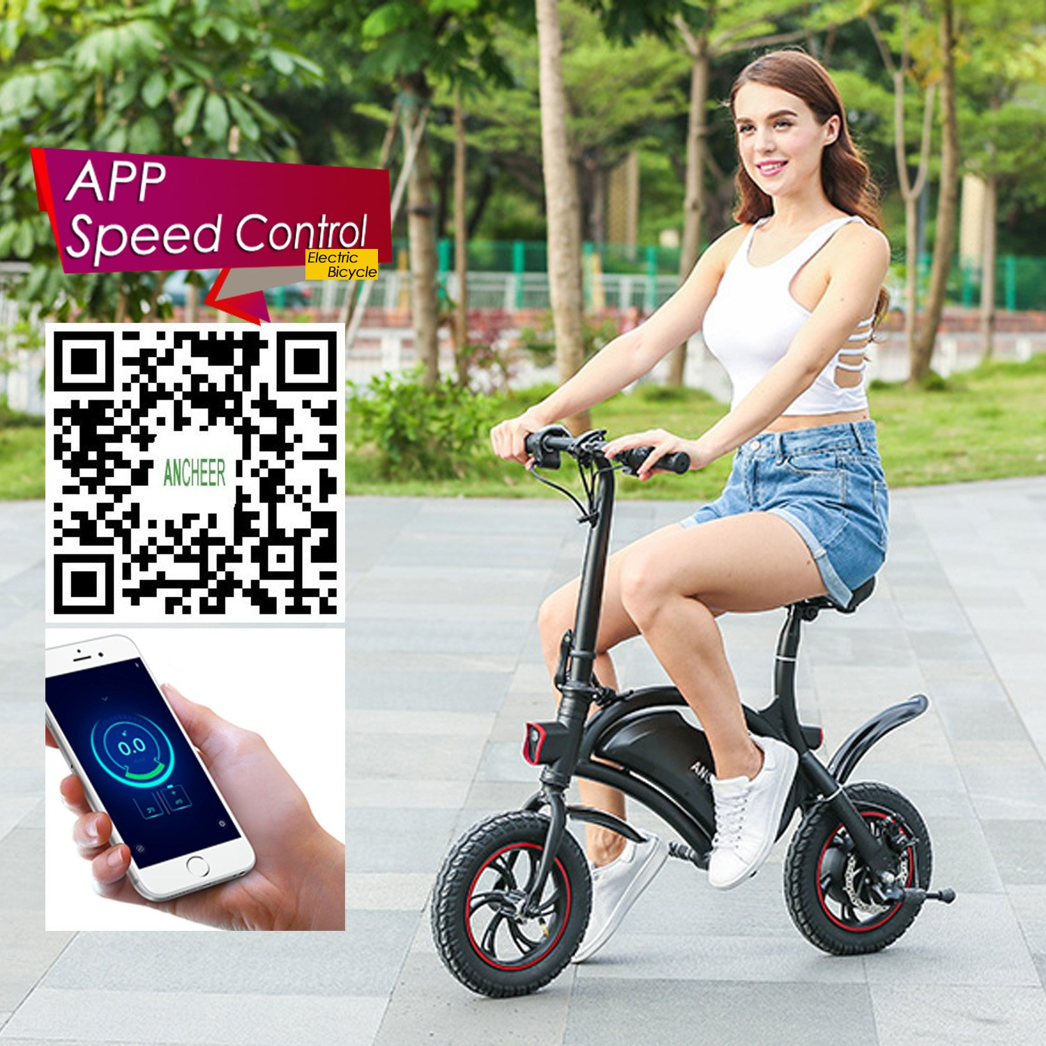 REVIEW ANCHEER Folding Electric Bicycle E-Bike Scooter 350W Powerful Motor Waterproof Ebike with 12 Mile Range, APP Speed Setting | Electric Bike in Seattle WA 81mjVe2Jm4L._SL1500_