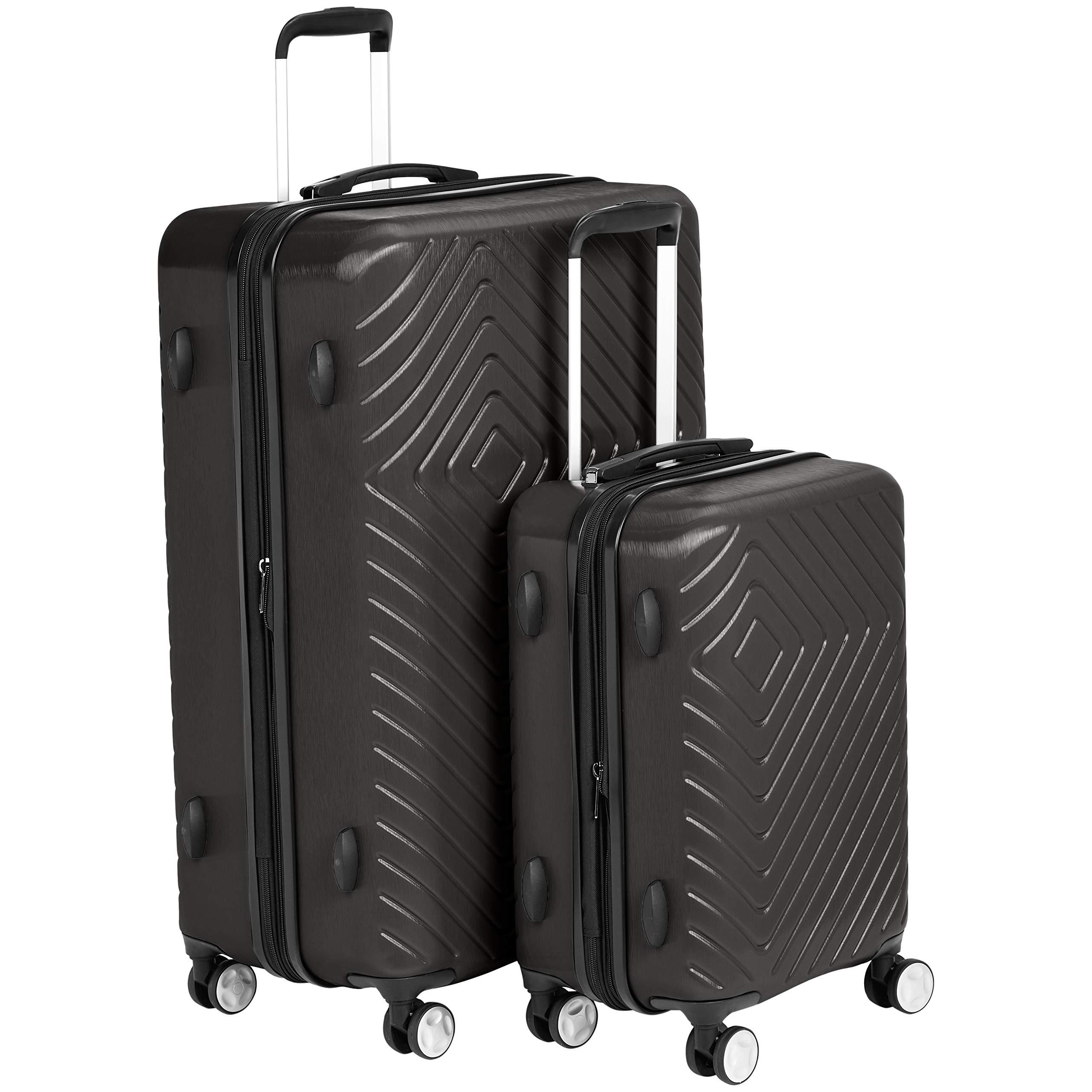AmazonBasics Geometric Luggage Expandable Suitcase Spinner - 2 Piece Set (20'', 28''), Black