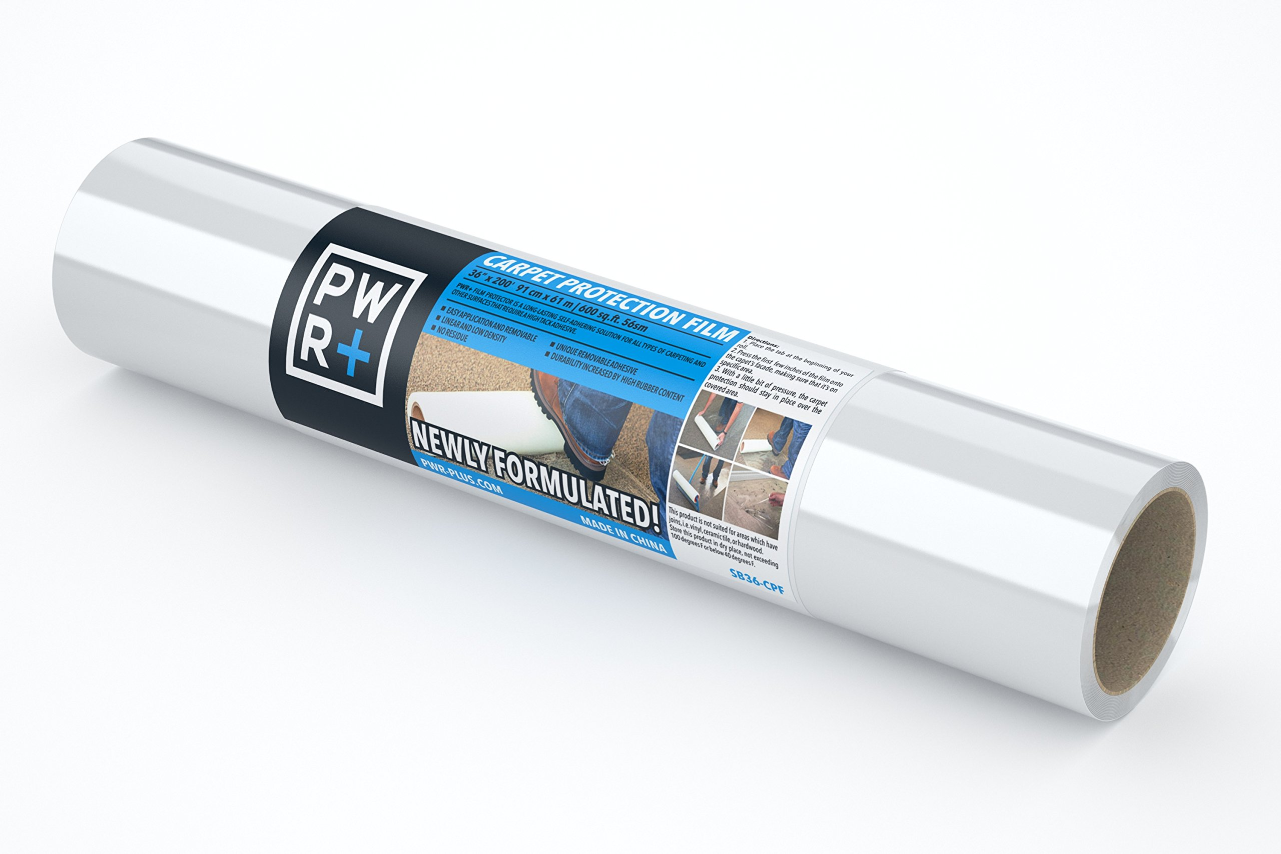 PWR+ Carpet Protector 36'' x 200' Plastic Film Paint Protector, Self Adhesive Protective Tape, Carpet Cover, Rug Protection Roll