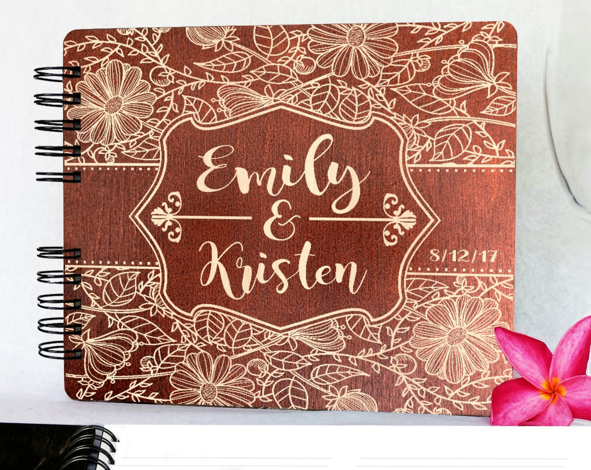 Custom Flower Design Wedding Guestbook 8.7x7 Mahogany Stain Wood Anniversary Rustic Guest Book Gift Engraved Bride Groom Guest Album