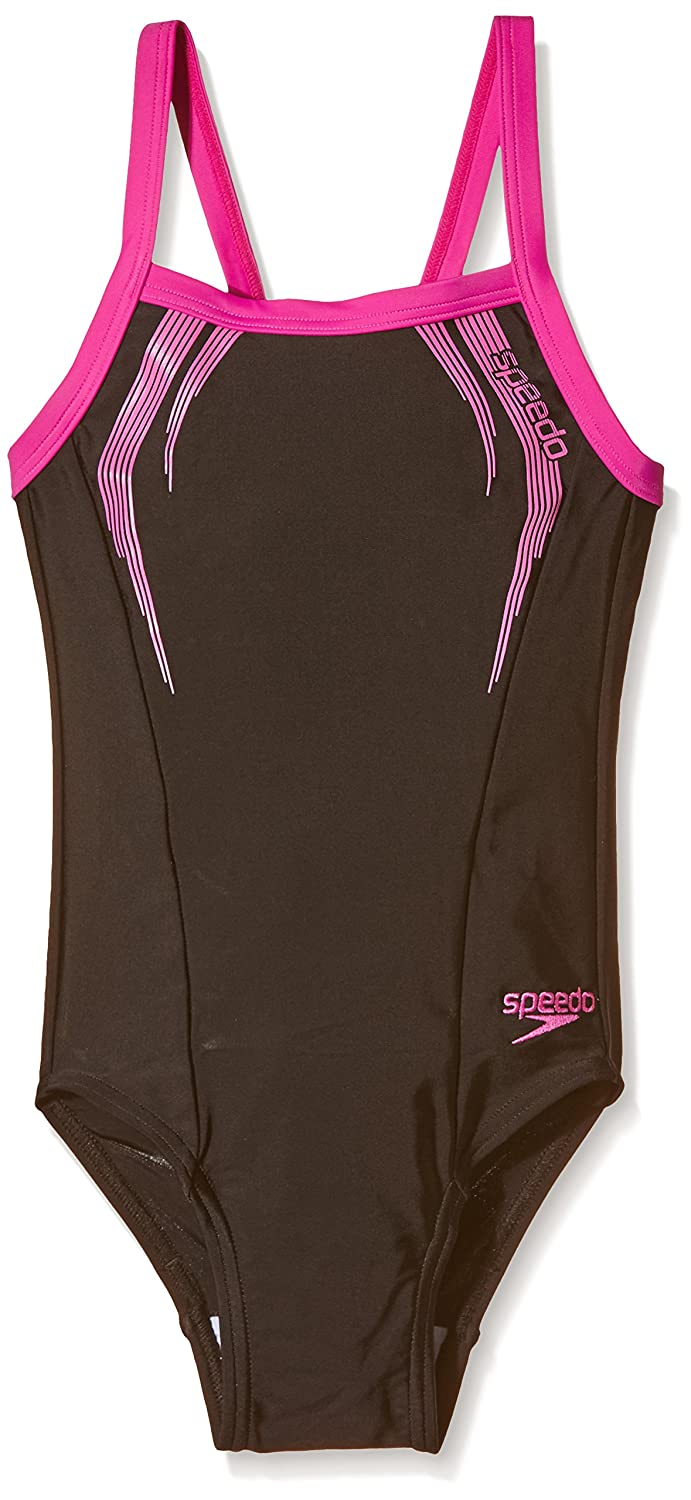 Speedo Girl's Sports Logo Thinstrap Muscleback Swimsuit 16 Years Black/Ecstatic Pink 8-09729A125
