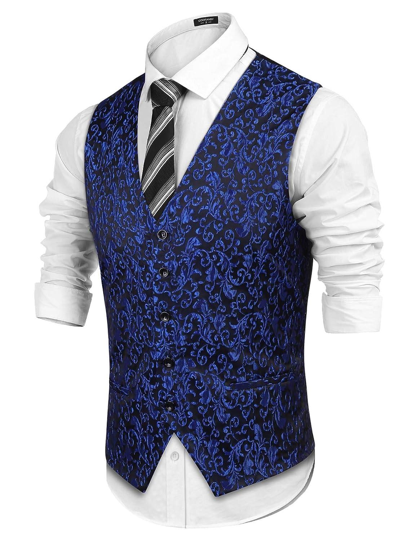 Coofandy Mens Suit Dress Vest Paisley Floral Tuxedo Vest Wedding