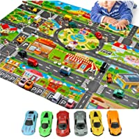 Kids Play Mat-Fun Play mat for Kids Educational Traffic Kids Play Mat-Include 6 Cars Washable,Waterproof PVC Non-Slip…
