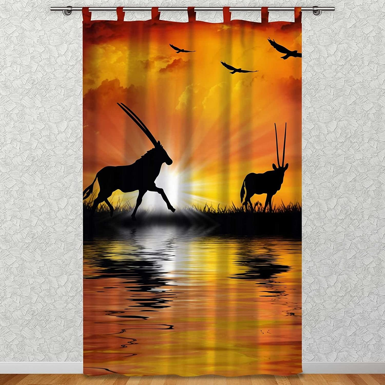 Clever-Kauf-24 Vorhang Gardine für Das Kinderzimmer Afrika Antilopen BxH 145 x 245 cm   Sichtschutz   Lichtdurchlässig   Schlaufenschal Nicht Nur für Großwildjäger