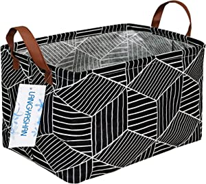LANGYASHAN Rectangular Storage Basket Collapse Canvas Fabric Cartoon Storage Bin with Handles for Organizing Home/Kitchen/Kids Toy/Office/Closet/Shelf Baskets(Black Diamond)