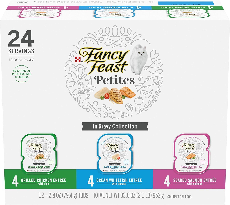 Purina Fancy Feast Gourmet Wet Cat Food Variety Pack, Petites Gravy Collection, Break-Apart tubs, 24 Servings - (12) 2.8 oz. Tubs