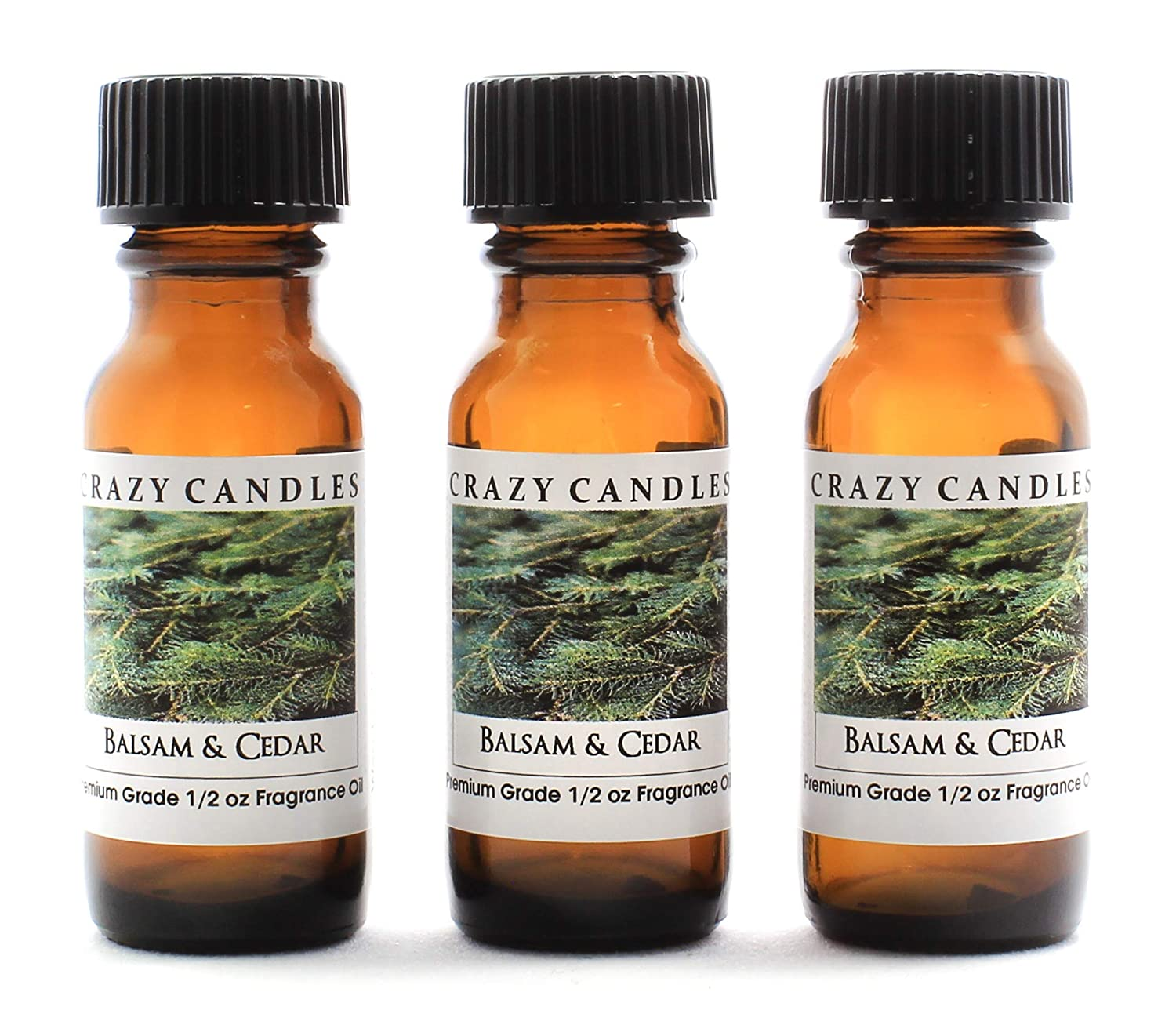Crazy Candles Balsam & Cedar (Made in USA) 3 Bottles 1/2 Fl Oz Each (15ml) Premium Grade Scented Fragrance Oil