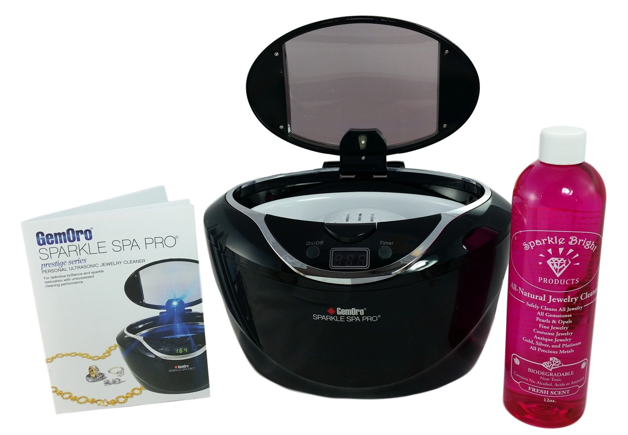 GEMORO 1790 SPARKLE SPA PRO BLACK ULTRASONIC JEWELRY CLEANER KIT & Sparkle Bright All-Natural Jewelry Cleaner Solution, 12oz.