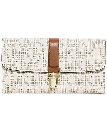0277ef178db8 Michael Kors Womens Charlton Leather Organizer Clutch Wallet Ivory O/S