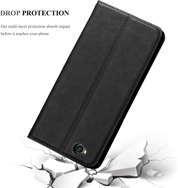 Cadorabo Coque pour Xiaomi RedMi GO en Marron CAF/É Stand Horizontal et Fente Carte Portefeuille Etui Poche Folio Case Cover Housse Protection avec Fermoire Magn/étique