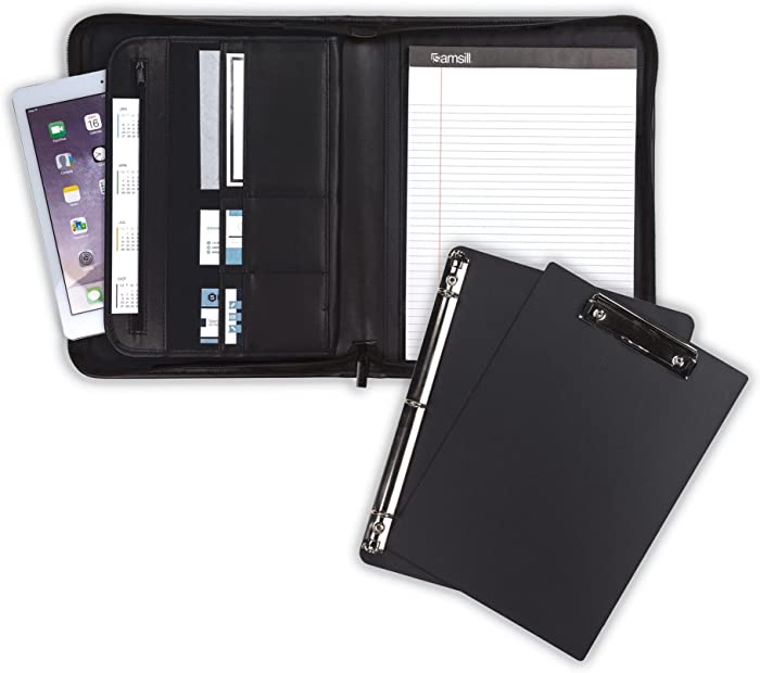 "Samsill 70829 Professional Padfolio Bundle, Includes Removable Clipboard.5"" Round Ring Binder with Secure Zippered Closure, 10.1 Inch Tablet Sleeve, Black"