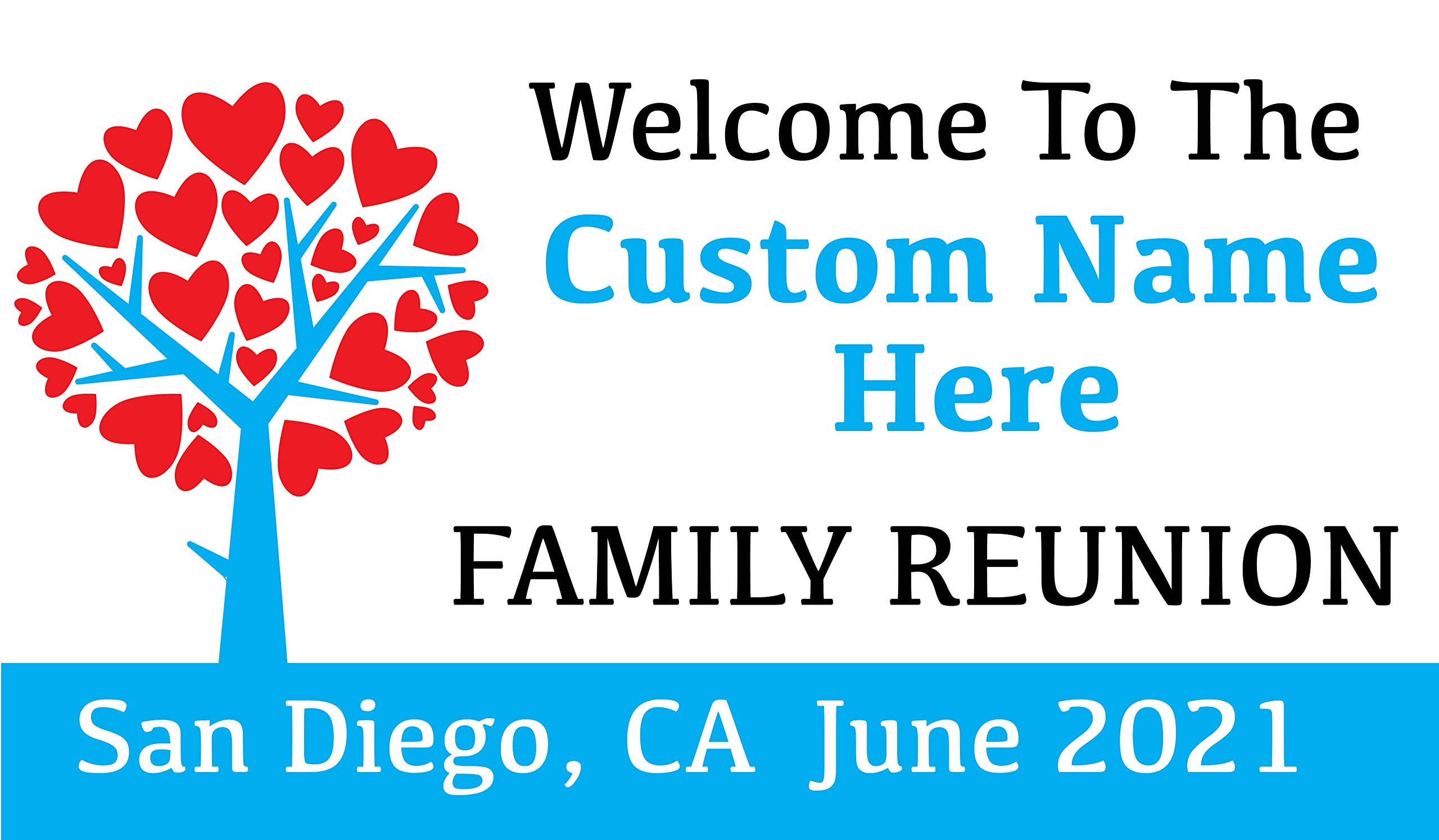 Family Reunion Custom Printed Banner - Tree Hearts Blue (10' x 5') by Reliable Banner Sign Supply & Printing