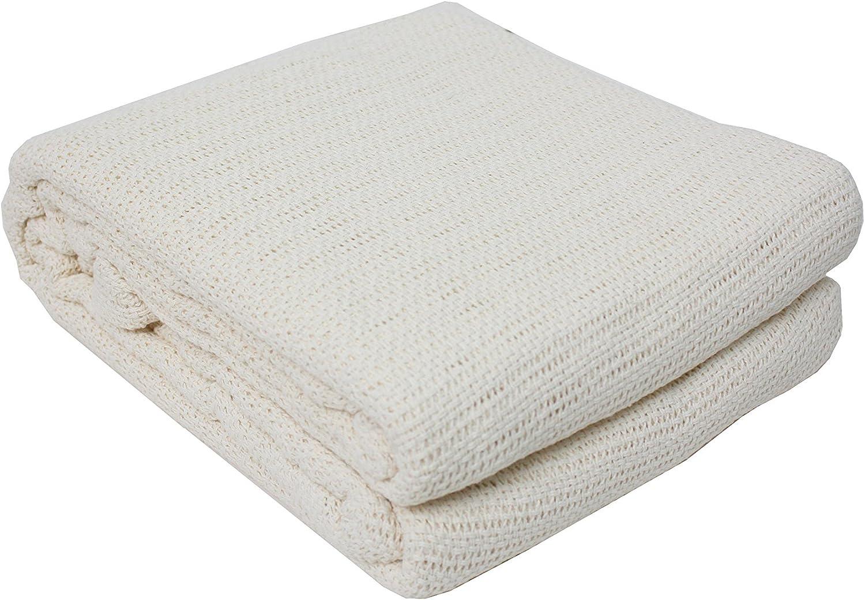 J&M Home Fashions Soft Premium Cotton Thermal Blanket Twin/Full, 72x90, Off-White