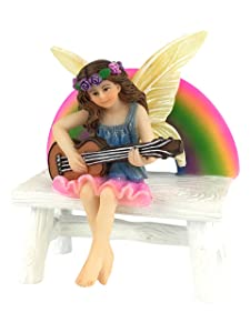 GlitZGlam Megan The Rainbow Fairy with Rainbow Bench – a Miniature Fairy Figurine for Your Fairy Garden