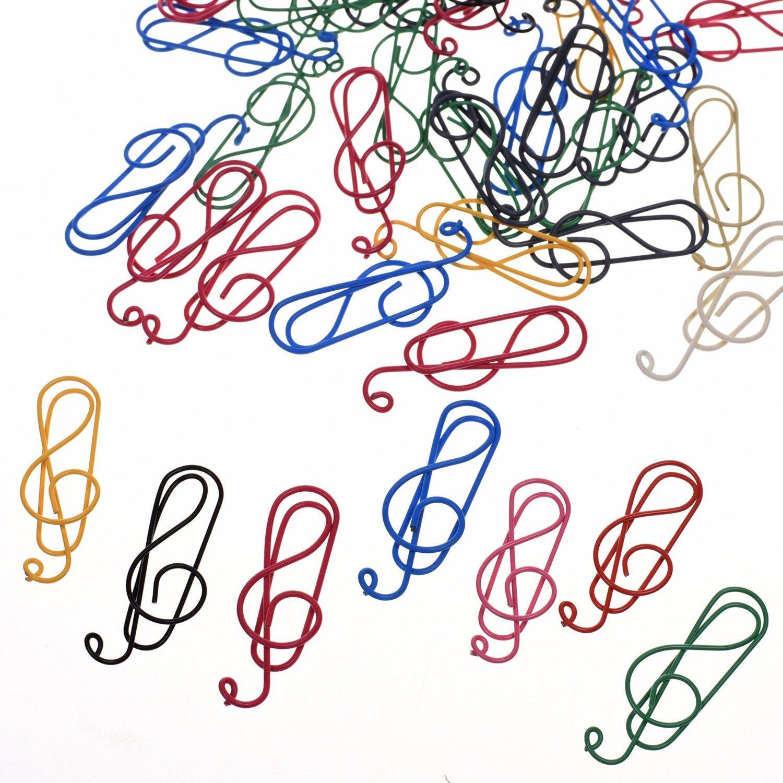 BCP 50PCS Random Color Musical Notes Style Metal Cute Paper Clips