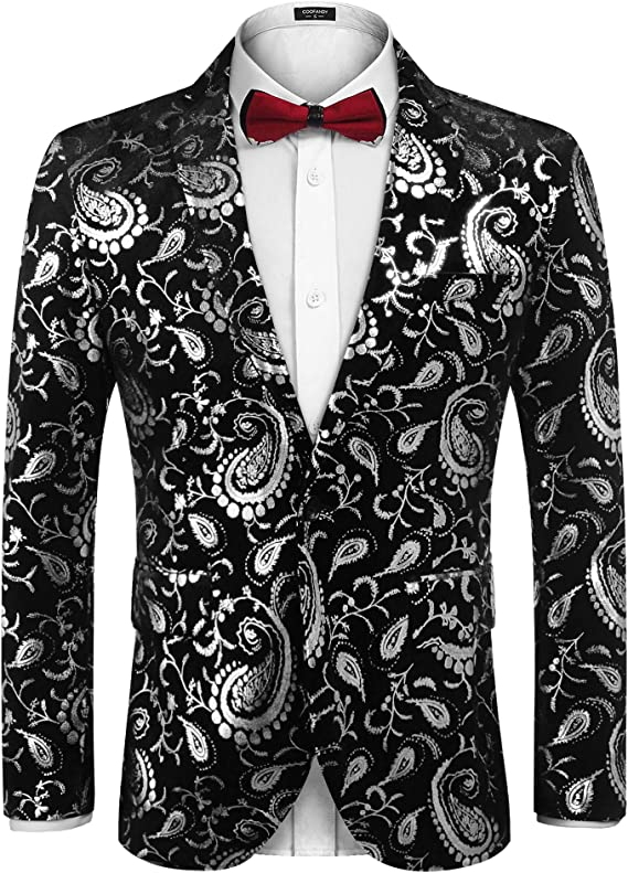 COOFANDY Men's Floral Print Suit Jacket Shiny Luxury Paisley Prom Party Blazer