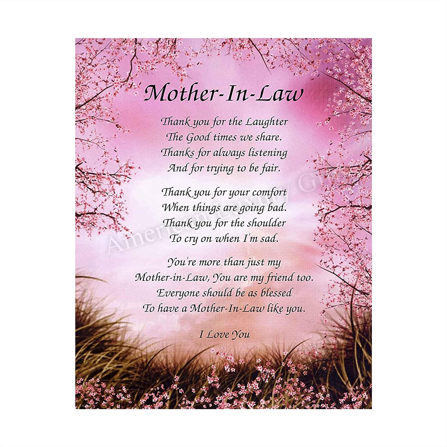 """""""Mother-in-Law- What You Mean To Me""""- 8 x 10"""" Wall Art-Ready to Frame. Heartfelt Gift Saying Thank You To My Second Mother-Friend. Perfect Keepsake Gift for Any Mothers-in-Law's & Brides-Room to Sign."""