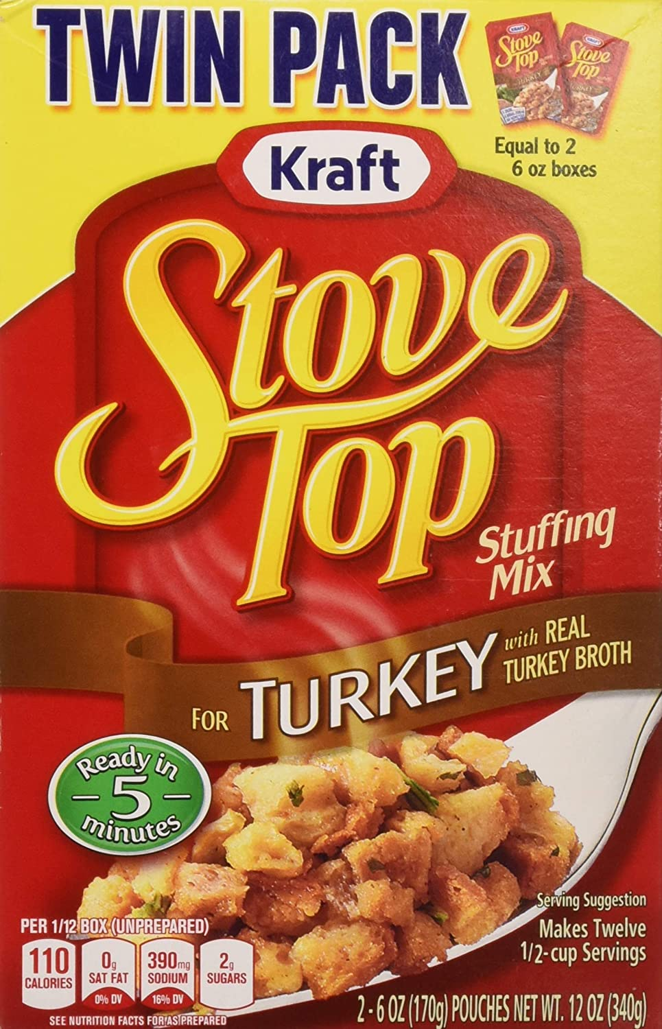 Amazon.com : Stove Top Stuffing Mix Twin Pack, Turkey, 12.0 Ounce : Grocery & Gourmet Food