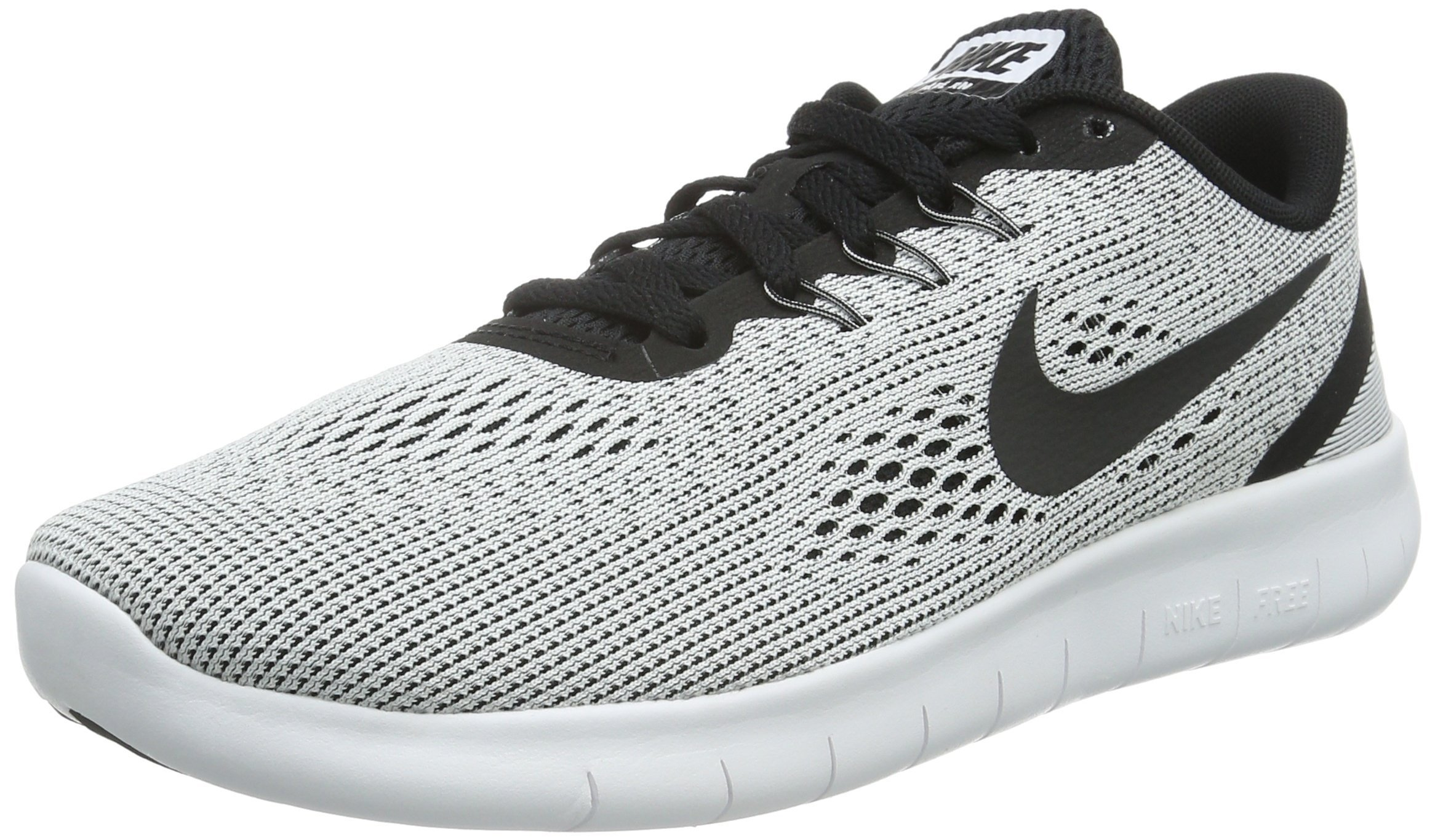 NIKE Youth Free RN Running Shoes-White/Black-6.5