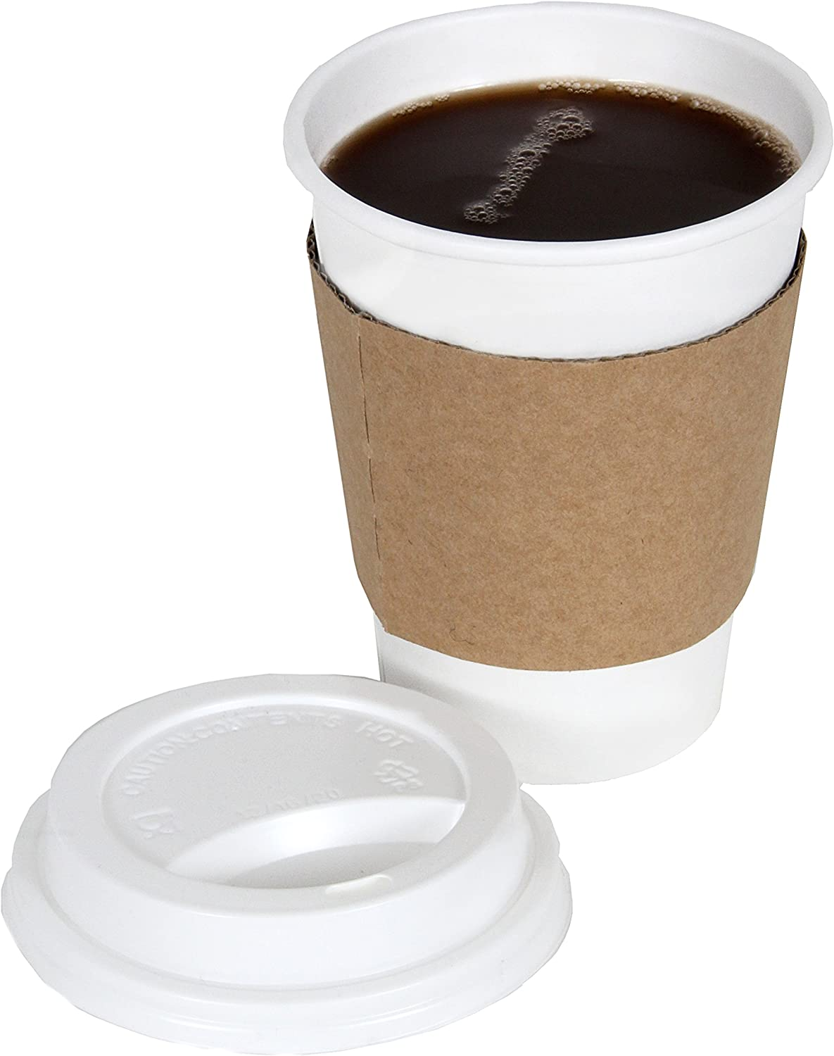 CucinaPrime 12oz White Disposable To-Go Paper Coffee/Hot Beverage Cups with White Lids and Sleeves- 50 Pack