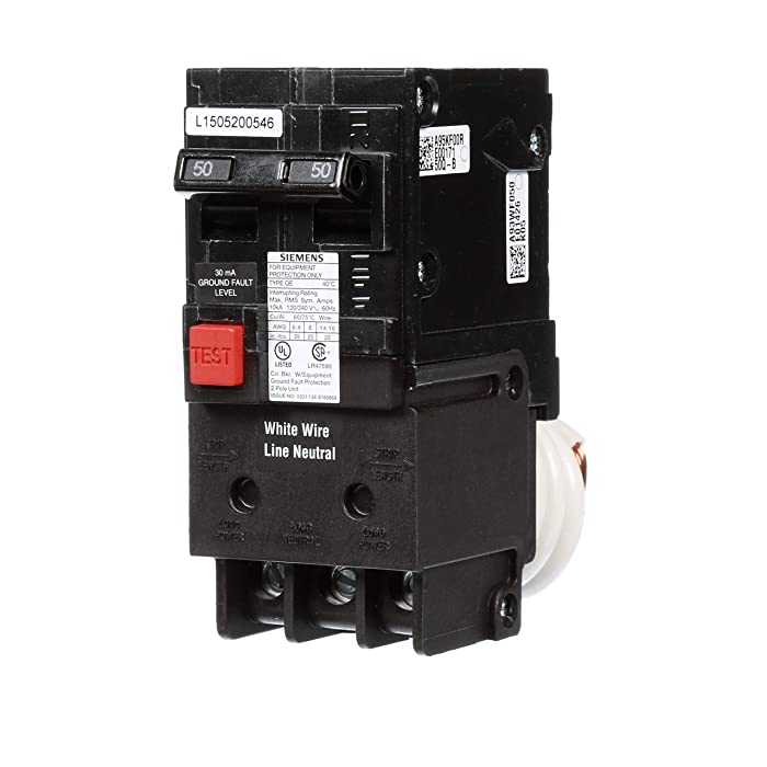 QE250 50-Amp Double Pole 240-Volt Ground Fault Equipment Protection Circuit Breaker