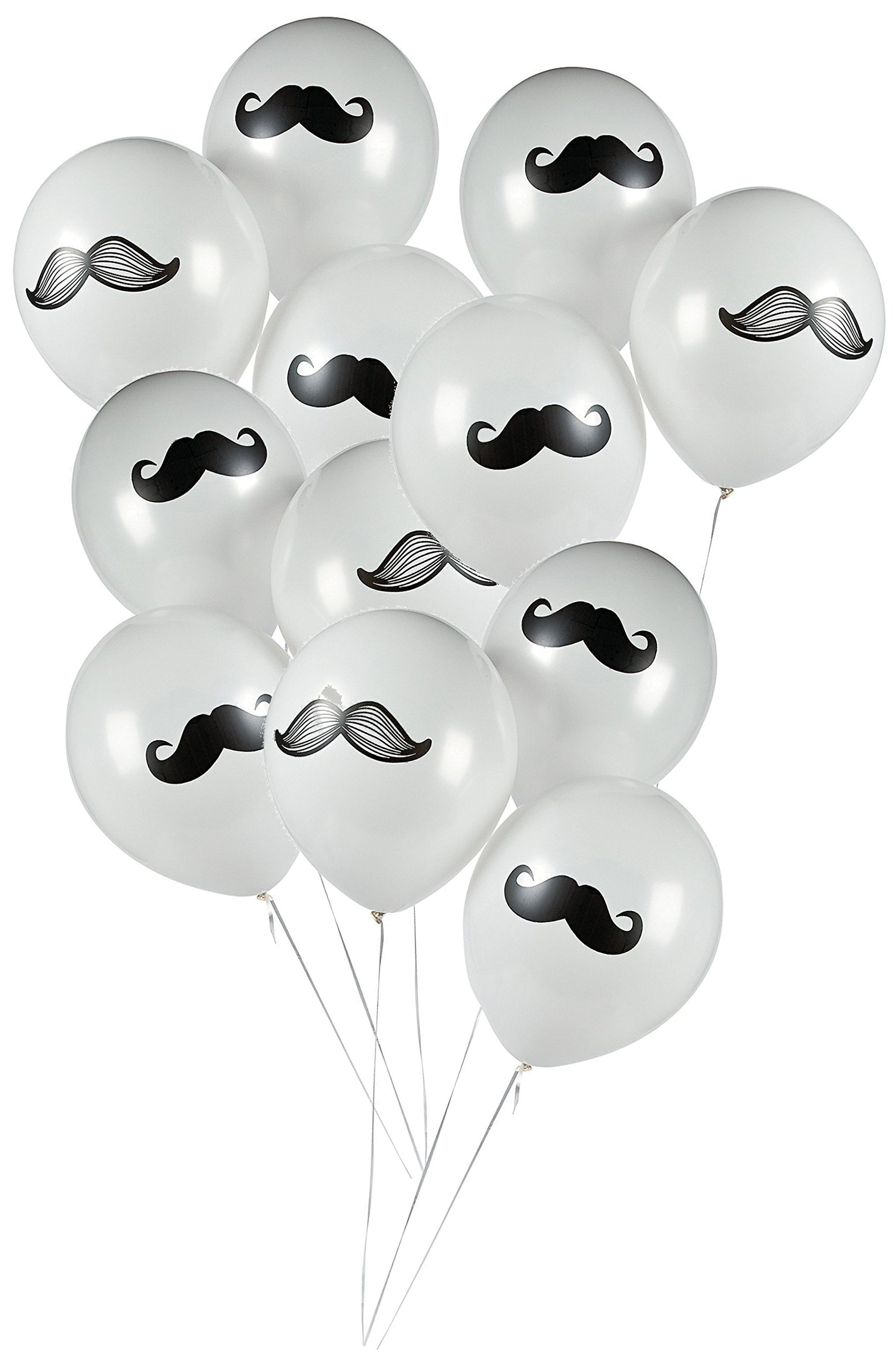 Mustache Baby Shower Birthday Party Supply Bundle Bulk Pack Includes 12 Swirl Decorations, 50 Mustache Food Picks, 12 Latex Balloons, and 1 Mustache Table Cover (BONUS! Matching Party Straw Pack) by Everyday Party Bundles (Image #2)