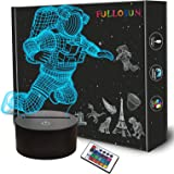 Spaceman 3D Night Light, FULLOSUN Astronaut Rocket Optical Illusion Lamp Home Decor Teen Bedroom Light with Remote…