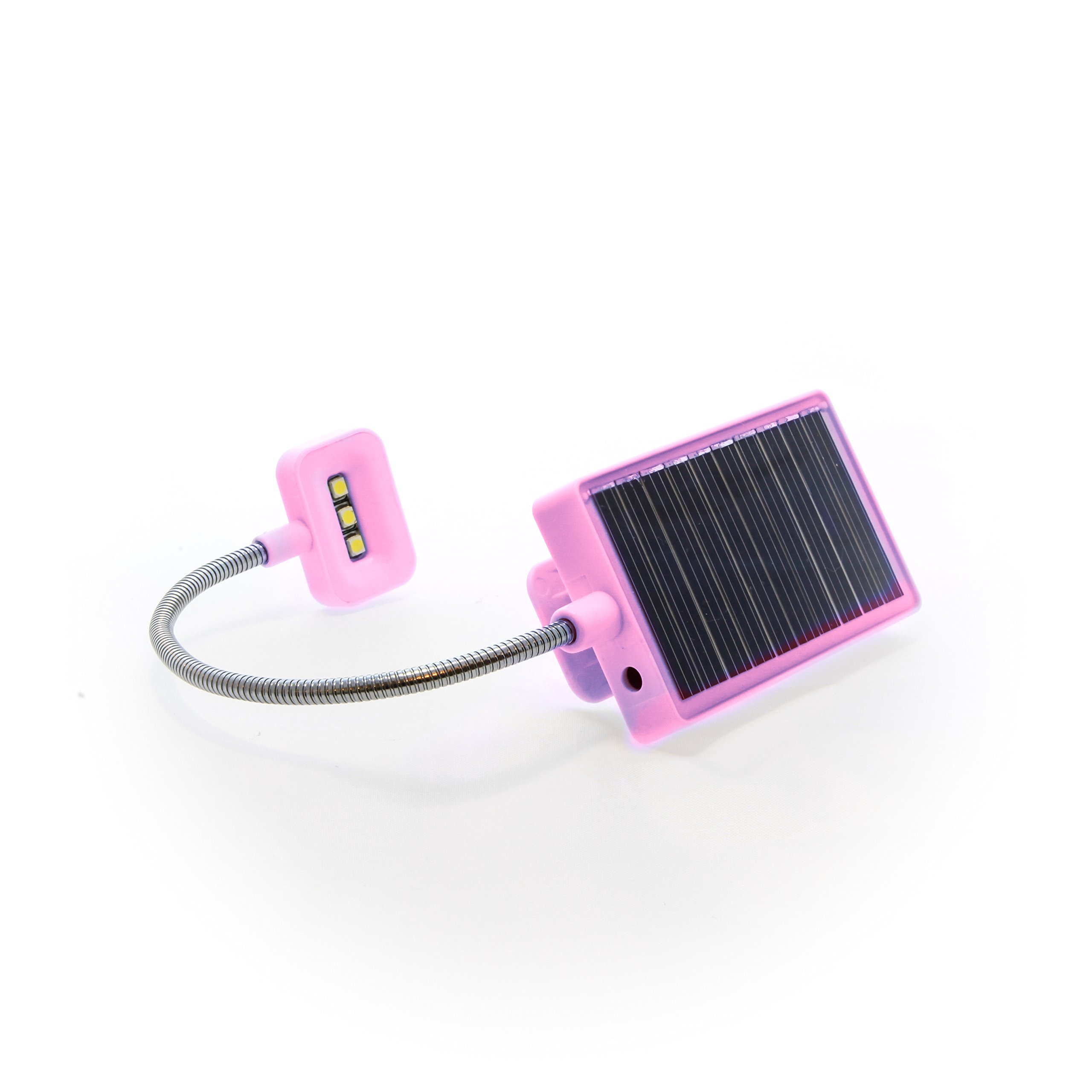 Solar Rechargeable Book Light Ideal for Reading in Bed - Solar or USB Rechargeable LED Clip-On Reading Light - 2 Light Settings Suitable for Bed Reading and Car Reading - Perfect for Kids (Pink)