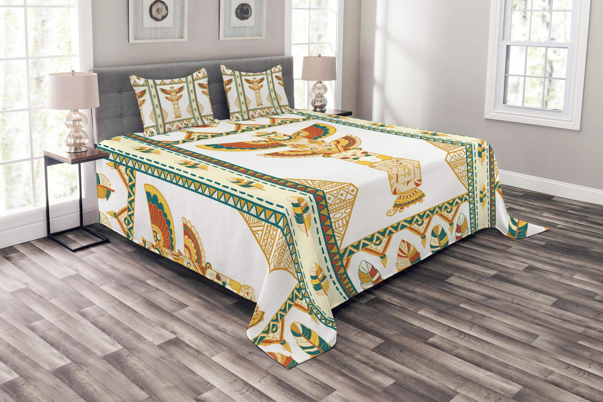 Lunarable Native American Bedspread Set King Size, Tribal Ornamental Totem Icon Sacred Spirit Clan Wigwam Folk Animals Print, Decorative Quilted 3 Piece Coverlet Set with 2 Pillow Shams, Multicolor