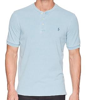 9a556e9c3 Polo Ralph Lauren Big & Tall Men's Short Sleeve Pique Mesh Henley Shirt  Light Blue