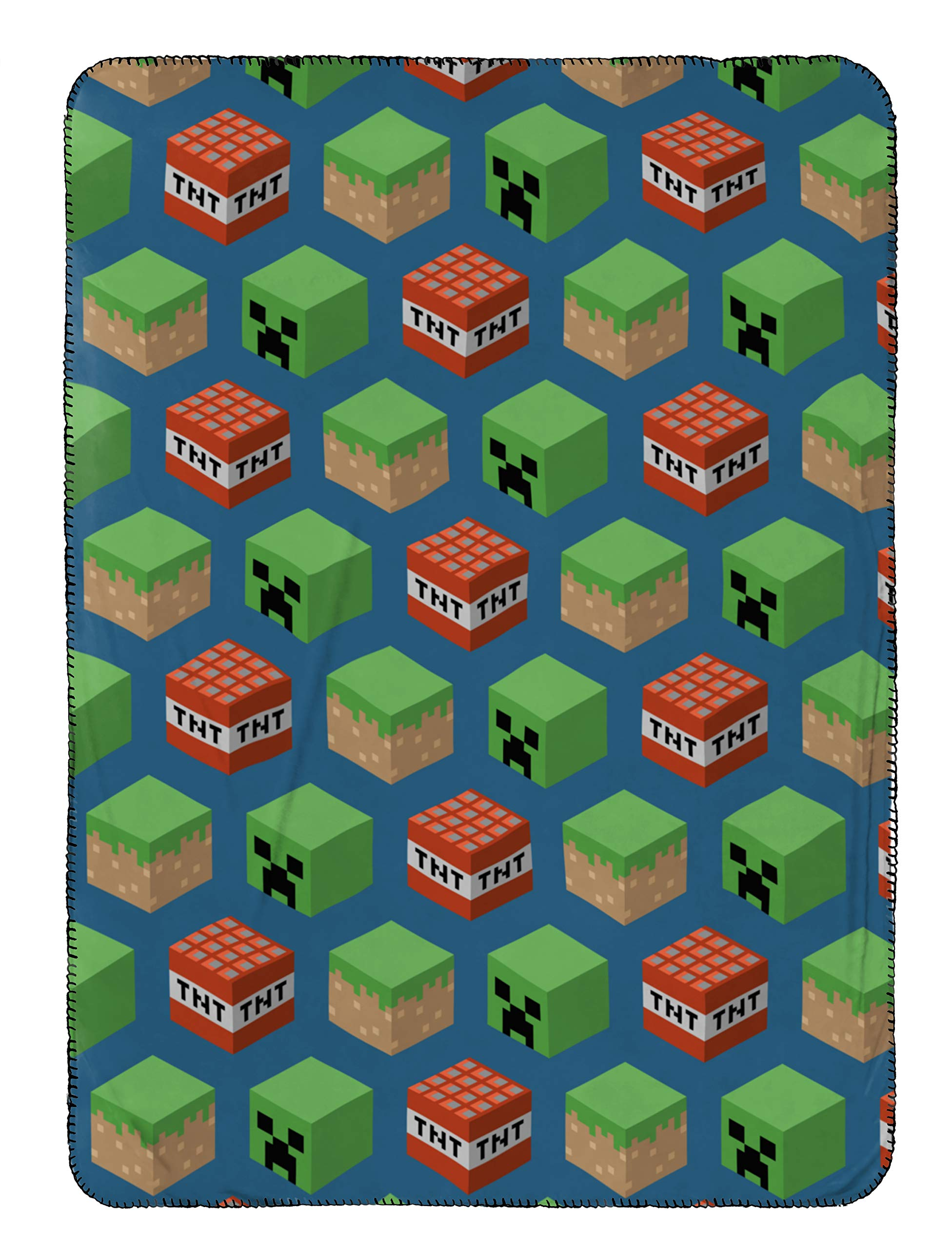 Jay Franco Mojang Minecraft Travel Blanket - Measures 40 x 50 inches, Kids Bedding Features Mineral Blocks - Fade Resistant Super Soft Fleece - (Official Mojang Product)