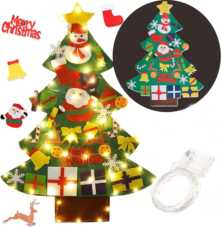 FunPa Fieltro Árbol de Navidad, Arbol Navidad Fieltro Pared DIY Decoración del Árbol de Navidad Decoración Colgante para Niños 30PCS Ornamento de Adorno LED Luces de Navidad