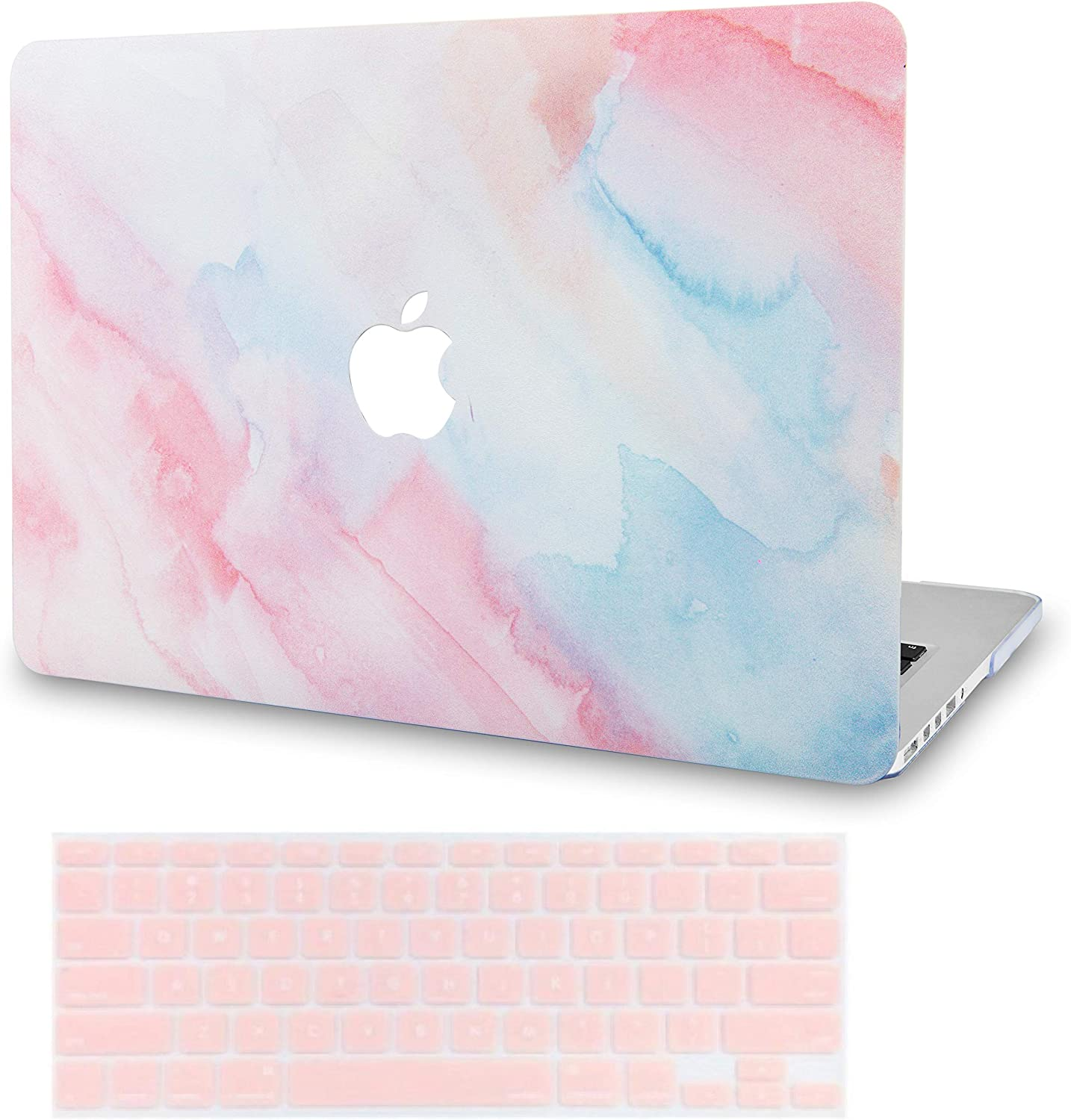 LuvCase 2 in 1 Laptop Case for MacBook Air 13 Inch (2018-2020) (Touch ID) A1932 Retina Display Rubberized Plastic Hard Shell Cover & Keyboard Cover (Pale Pink Mist)