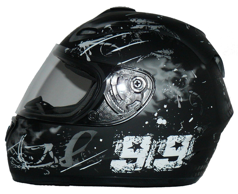 Protectwear Motorcycle helmet black purple for women flowers design FS-801-SL Size L