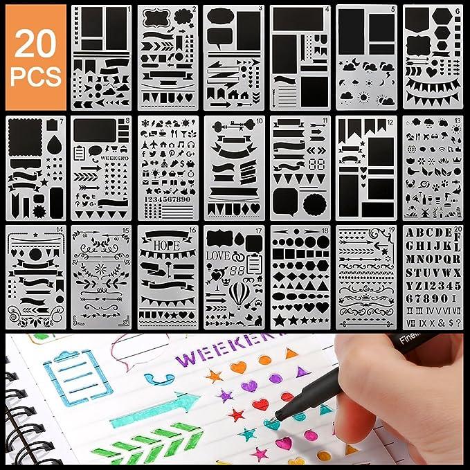 Zeichenschablonen 20 Stück Zeichen Schablonen Grafiken Schablonen
