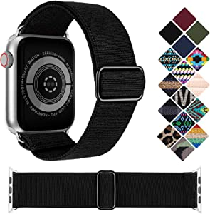 KRISVI Nylon Braided Solo Loop Apple Watch Bands 38mm 40mm, Patterned Adjustable Elastic Apple Watch Bands Women Men, Compatible with iWatch Series 6 5 4 3 2 1 SE(Black 38/40)