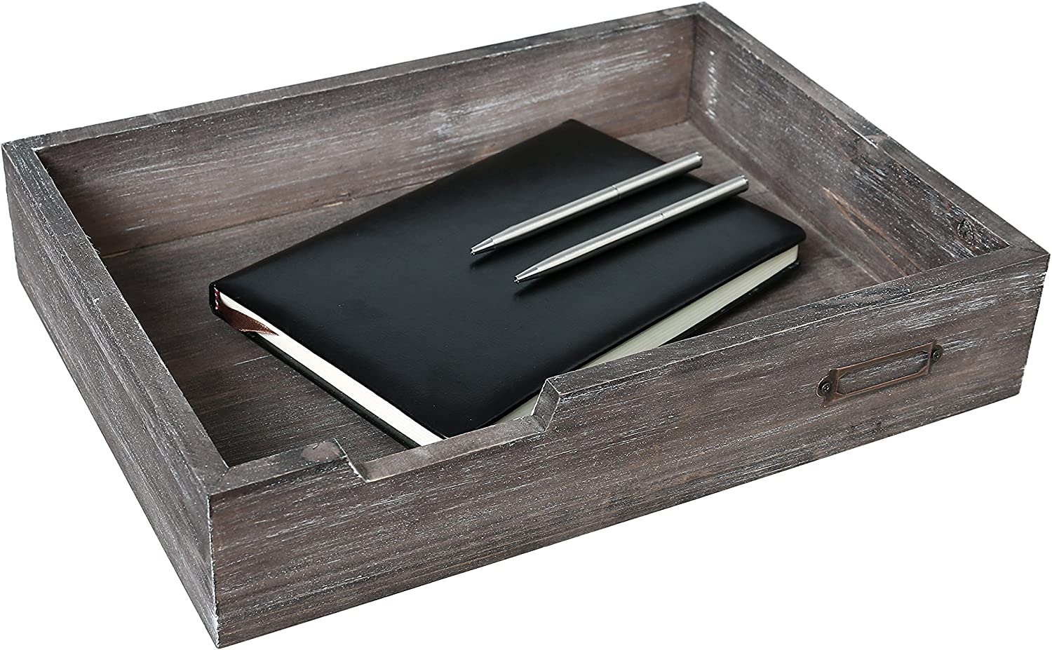 Rustic Brown Wood Stackable Office Document Tray, Desktop File & Paper Bin w/Metal Label Holder