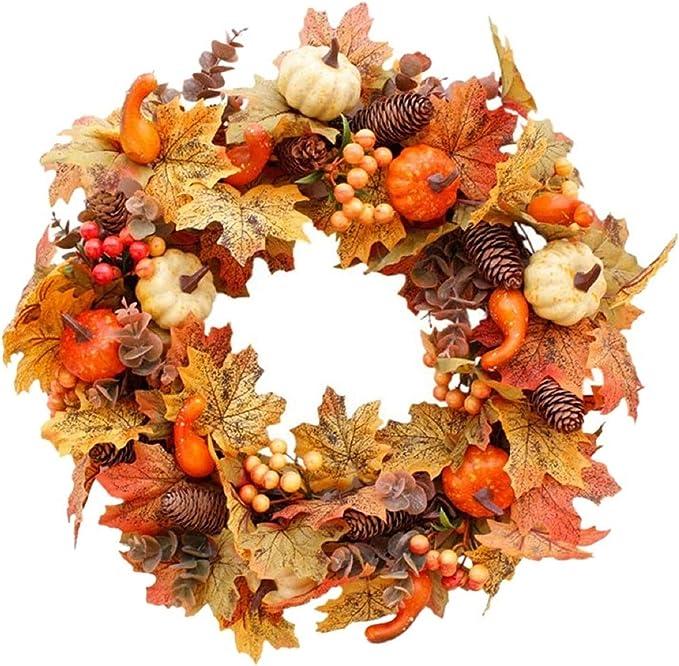 VINASE Large Fall Door Wreath, Home Decor Wreath, Autumn Front Door Wreaths, Outside Door Wreath For Christmas, Halloween, Thanksgiving Decor (A): Amazon.co.uk: Kitchen & Home